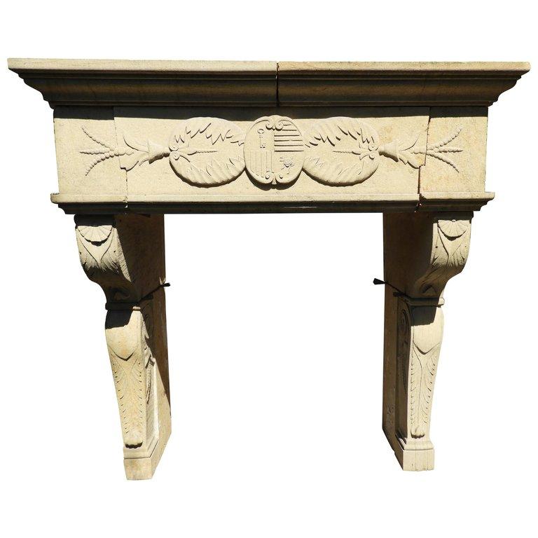Decorative Fireplace Renaissance Style In French Limestone
