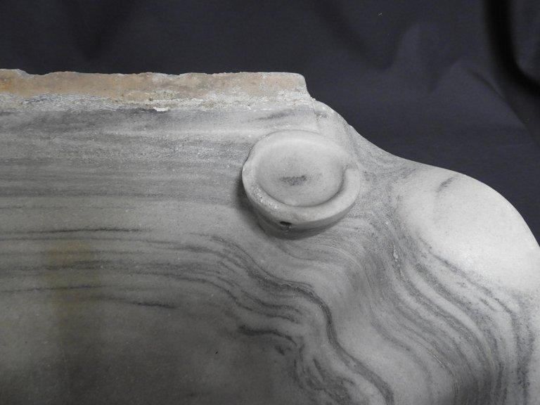 Lavabo En Marbre Blanc, Datant Du 19ième Siècle -photo-3