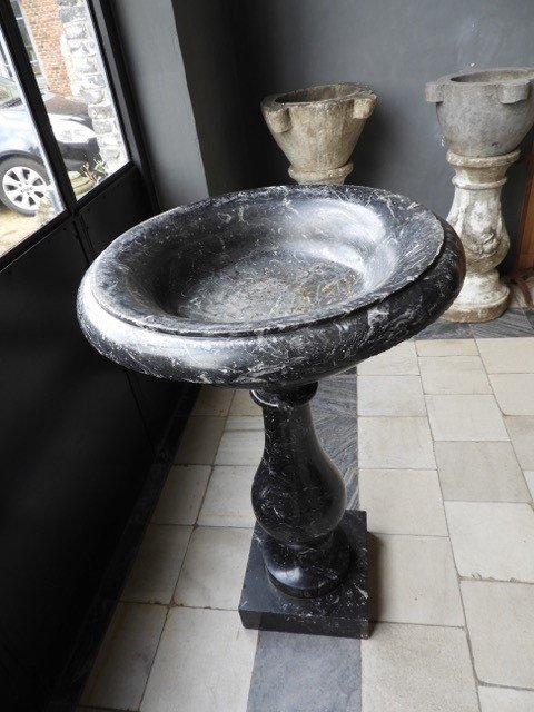 19th Century Baptismal Font In Black Marble, Dated 1882-photo-5