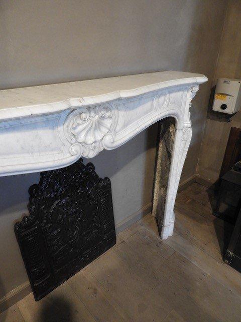 Cheminée  Antique Louis XV En Marbre Carrara-photo-3