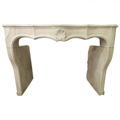 Hand-carved Louis XV Fireplace In French Limestone, 19th C