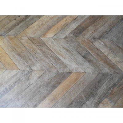Oak 'chevron' Flooring With Original 19th -18 Th Century Patina