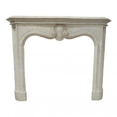 Louis XV Fireplace In Carrara Marble, Early 20th Century