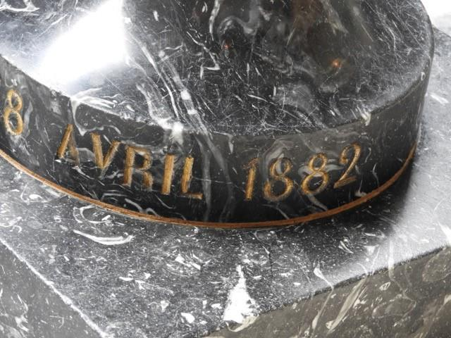 19th Century Baptismal Font In Black Marble, Dated 1882-photo-4