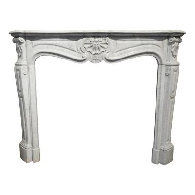 Louis XV Fireplace In White Carrara Marble, 19th Century
