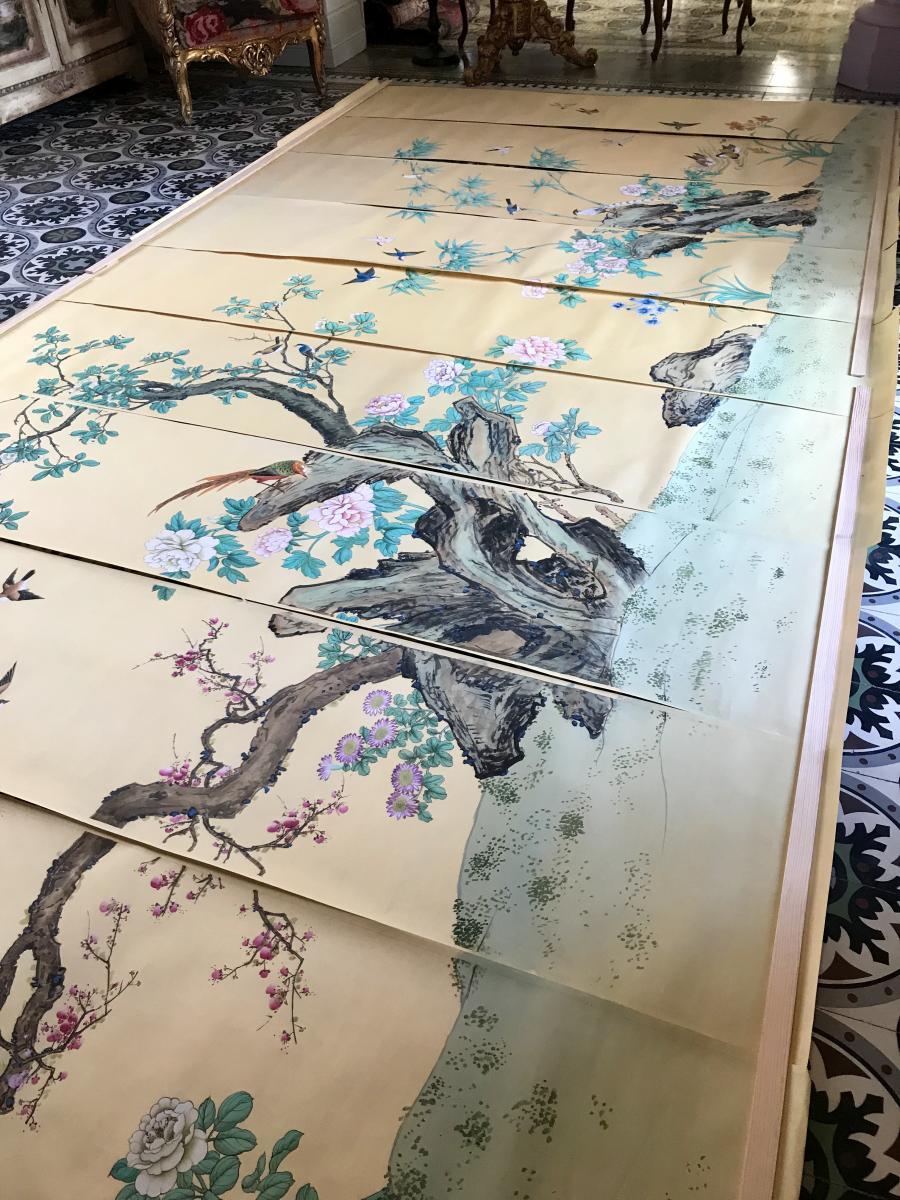 Panoramique Chinois Peint à La Main Sur Papier De Riz