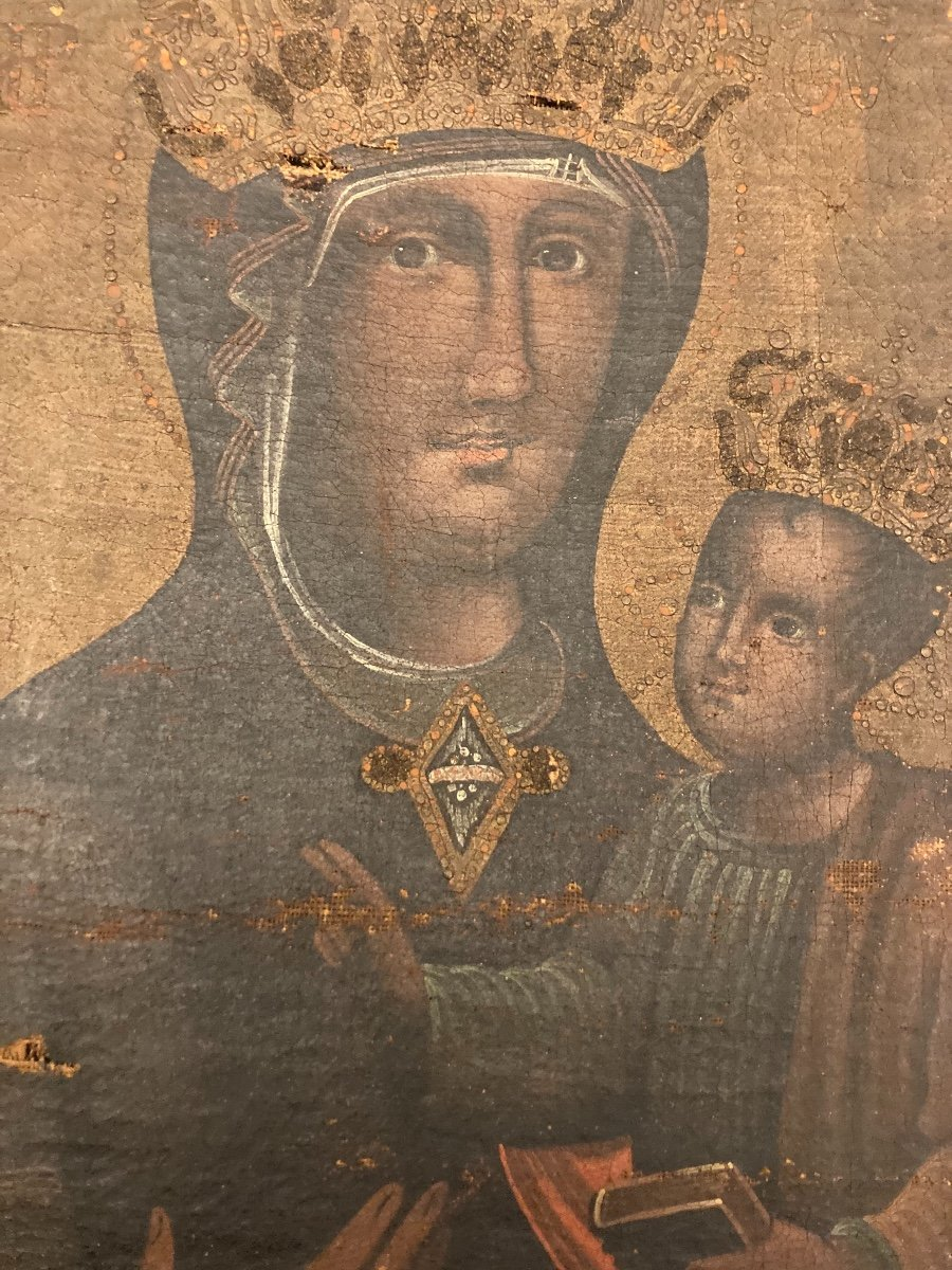 Vierge en Majesté, Huile sur toile, début XVIIIème-photo-3
