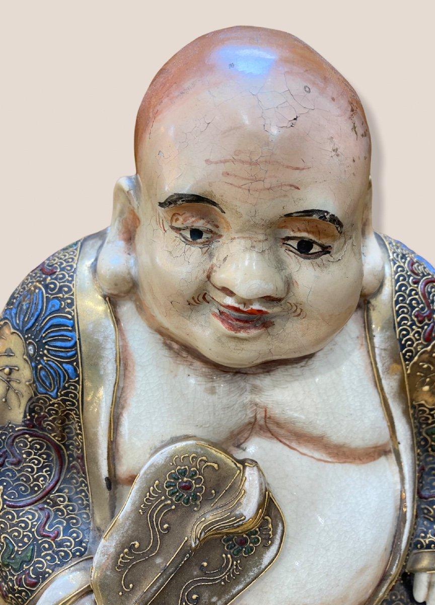 Bouddha Assis En Porcelaine De Satsuma-photo-2