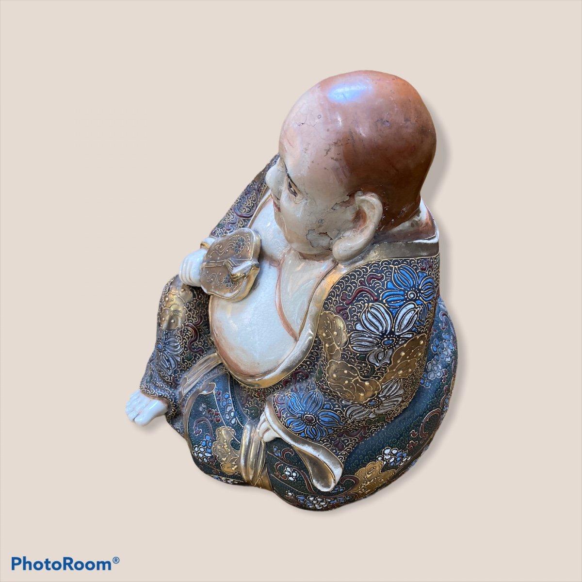 Bouddha Assis En Porcelaine De Satsuma-photo-3