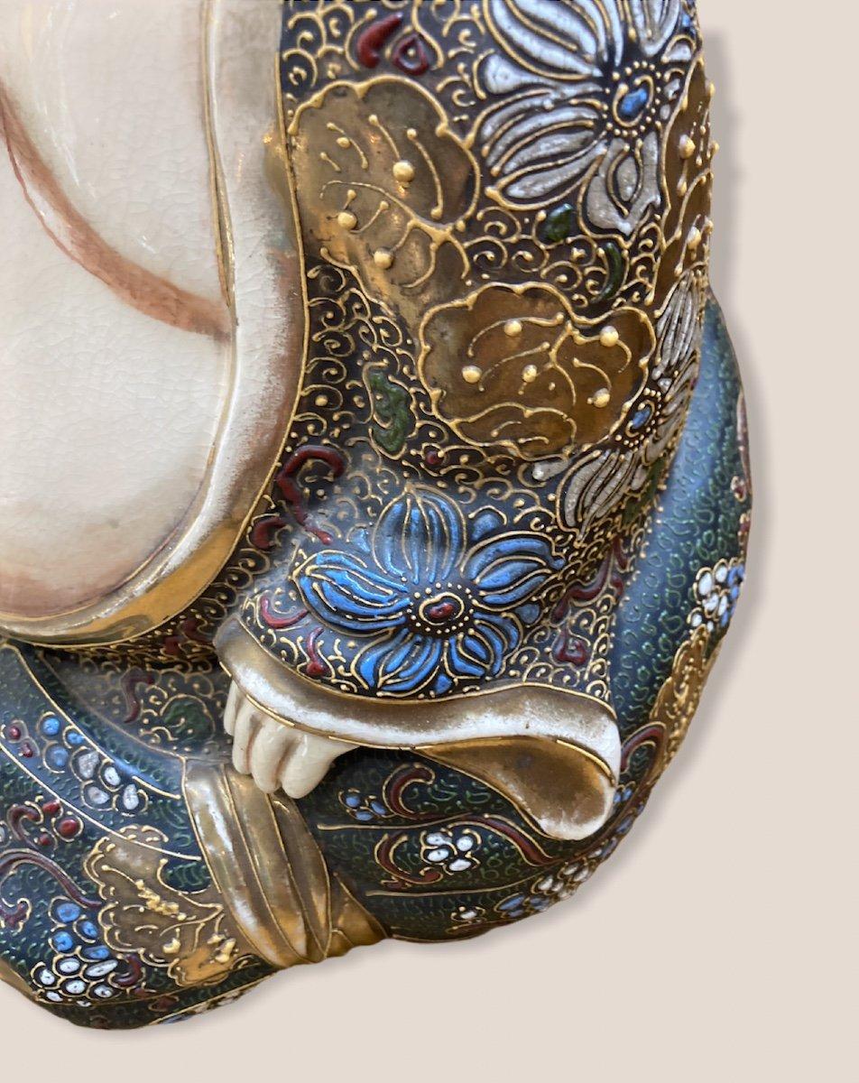 Bouddha Assis En Porcelaine De Satsuma-photo-4