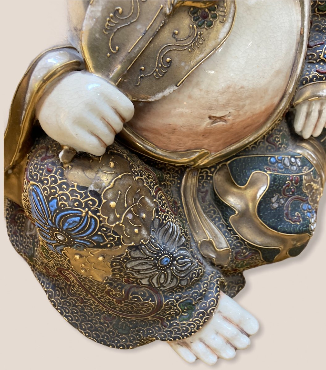 Bouddha Assis En Porcelaine De Satsuma-photo-5