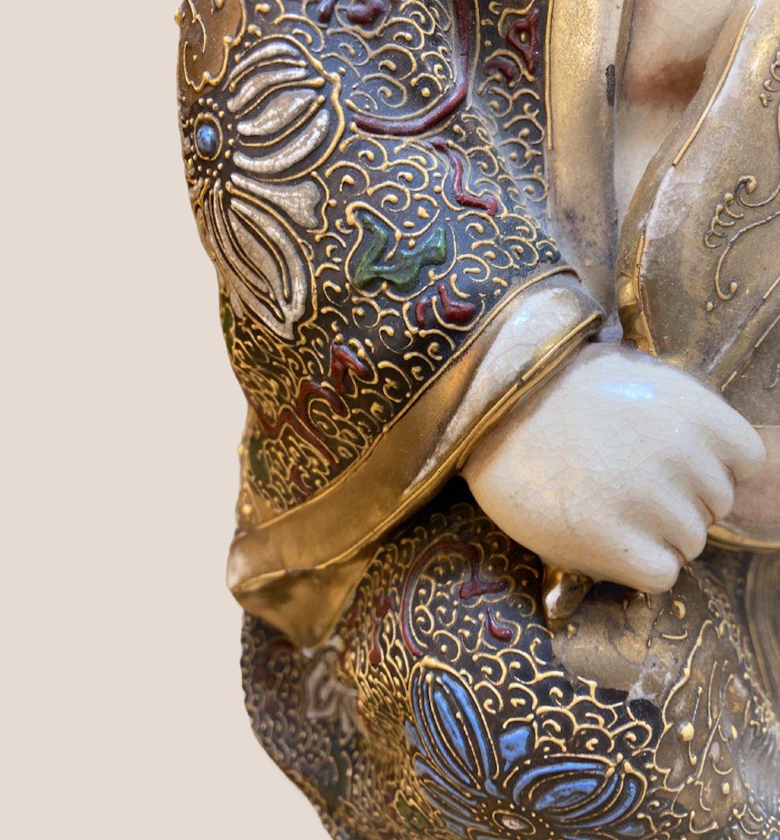 Bouddha Assis En Porcelaine De Satsuma-photo-6