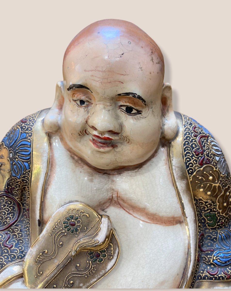 Bouddha Assis En Porcelaine De Satsuma-photo-7