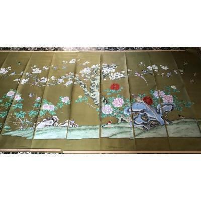 Large Panoramic Chinese Hand Painted Silk Paper