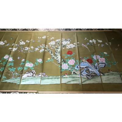 Grand Panoramique Chinois Peint à La Main Sur Papier De Soie