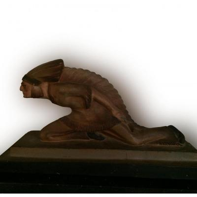 Indian On The Lookout, Patinated Terracotta, Art Deco Signed Le Jan
