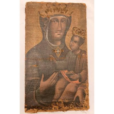 Vierge en Majesté, Huile sur toile, début XVIIIème