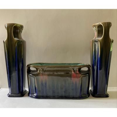 Orchies Garniture Tripode En Céramique Vernissée