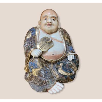 Bouddha Assis En Porcelaine De Satsuma