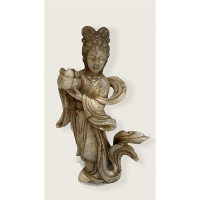 Important Sujet Chinois Guanyin En Jade Nephrite Blanc