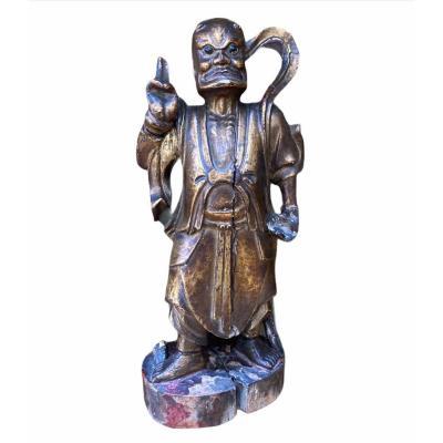 Statuette Chinoise En Bois Doré Fin XIXème  Divinité De La Guerre