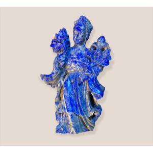 Statuette Chinoise En Pierre  De Lapis Lazuli