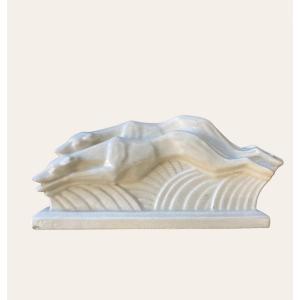 "Art Deco Cracked Ceramic Sculpture ""greyhound Race"""