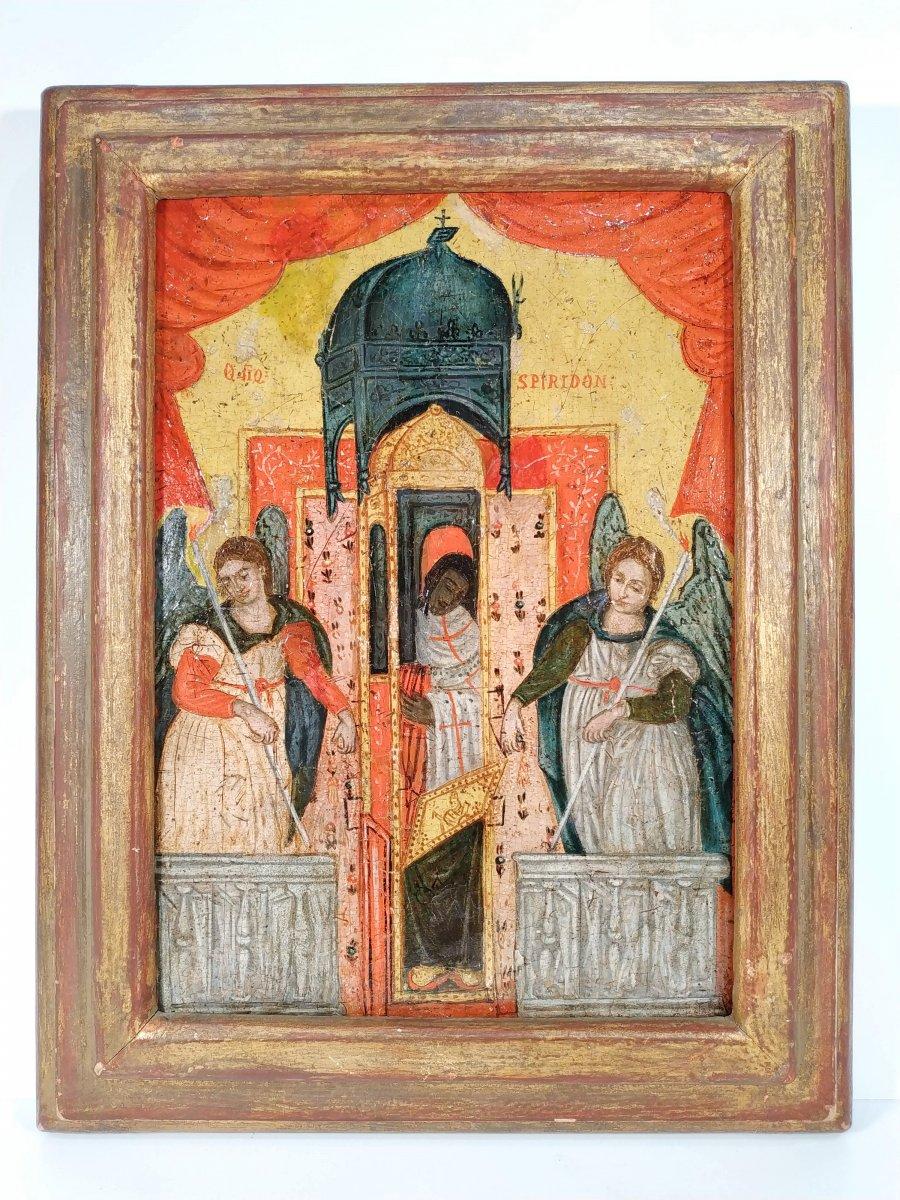 Monstrance Des Reliques De Saint Spiridon Icône Corfou 18e - Ο Άγιος Σπυρίδων