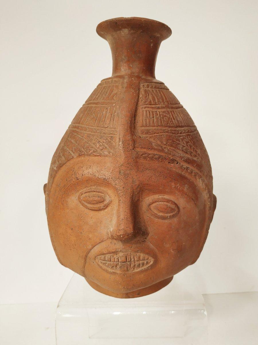 Vase Céphalomorphe Chimu / Inca - Pérou - XV-xvieme Siècle