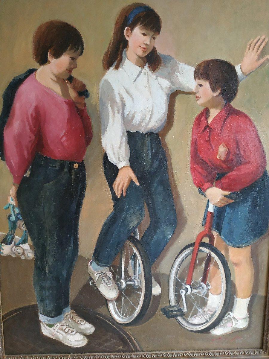 Enfants Aux Monocycles - Grande Peinture 101 X 128 - 1960-70-photo-2