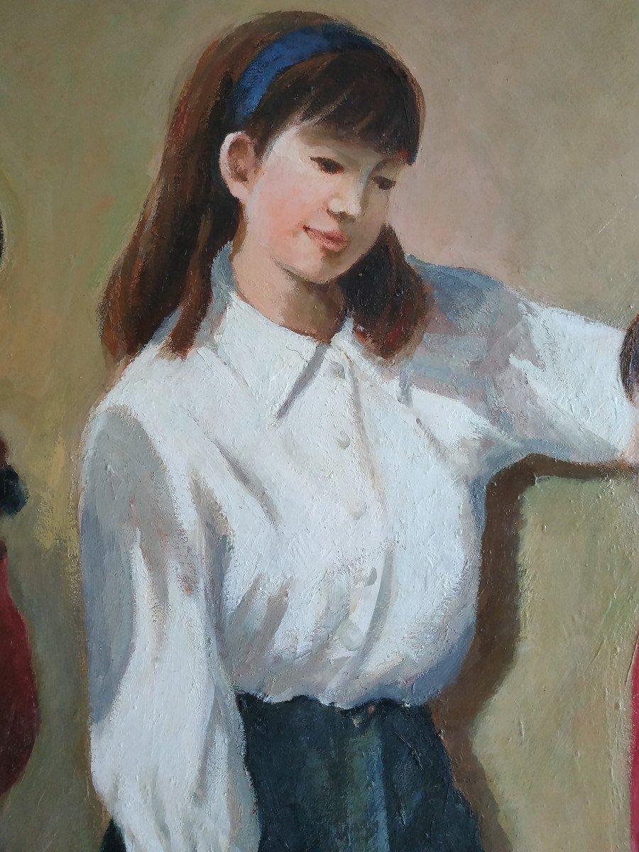 Enfants Aux Monocycles - Grande Peinture 101 X 128 - 1960-70-photo-4