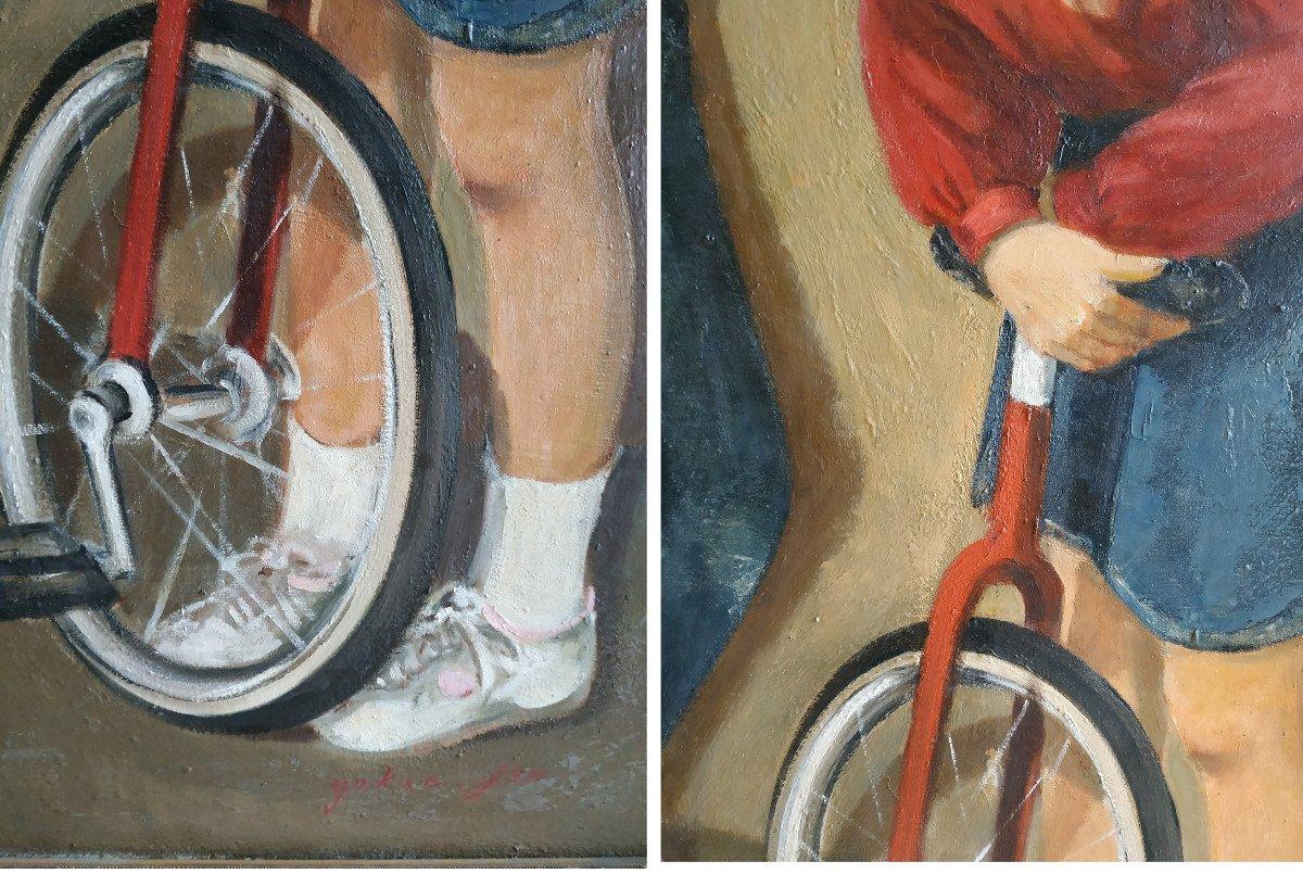 Enfants Aux Monocycles - Grande Peinture 101 X 128 - 1960-70-photo-3