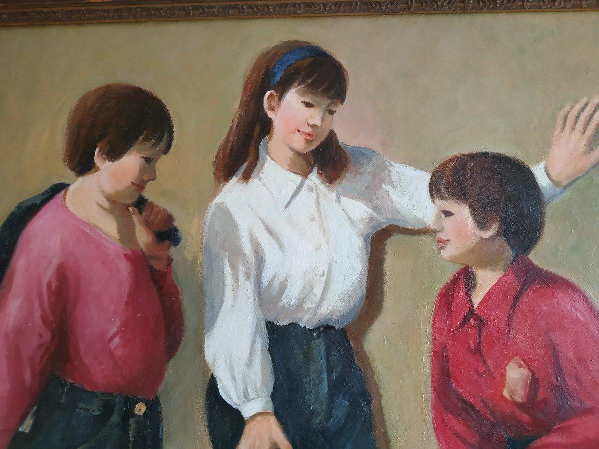 Enfants Aux Monocycles - Grande Peinture 101 X 128 - 1960-70-photo-5