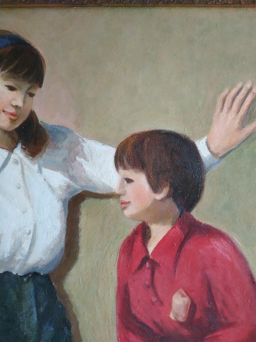 Enfants Aux Monocycles - Grande Peinture 101 X 128 - 1960-70-photo-6