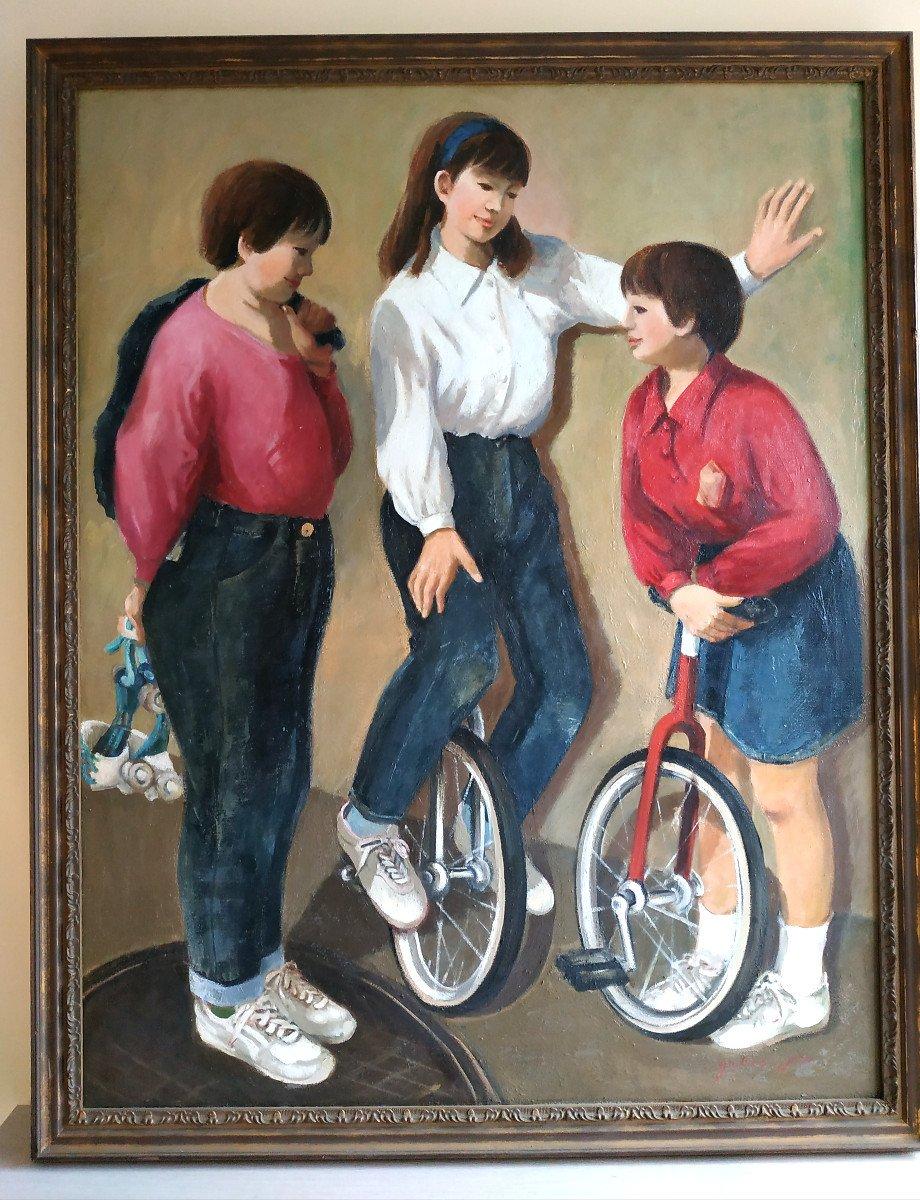 Enfants Aux Monocycles - Grande Peinture 101 X 128 - 1960-70