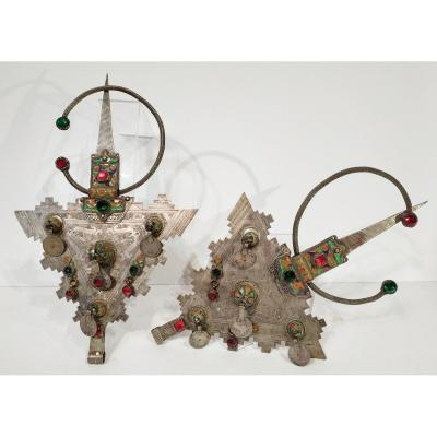 Pair Of Large Fibulas, Wedding Adornment, Early Twentieth, Morocco<br />