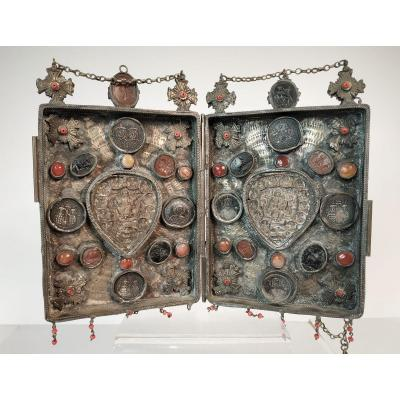 Byzantine Style Icon, Work 1950-70 - Sheet Silver, Coral, Glass Paste.