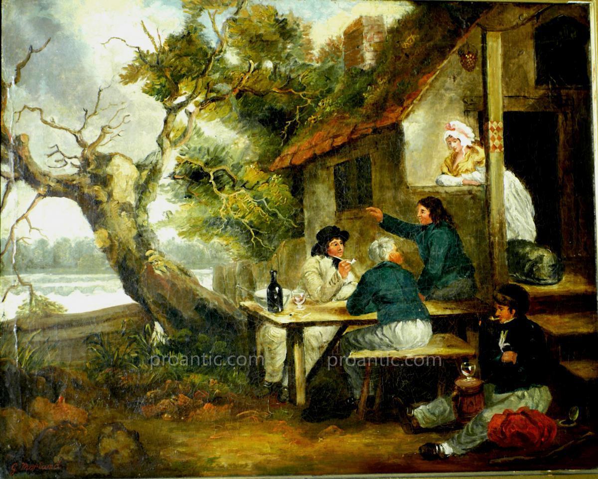 Peinture Sur Toile 'paysage Avec Figures' Morland