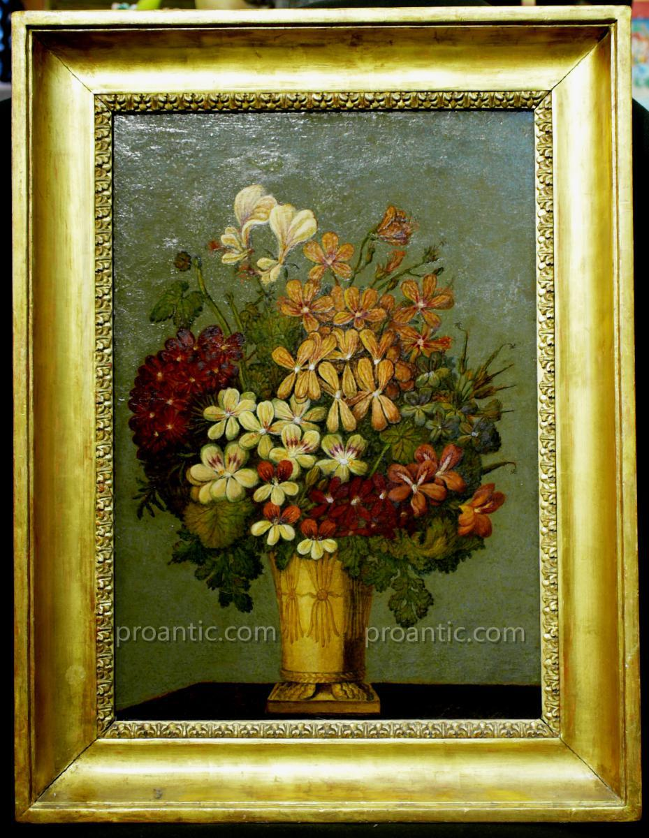 Ancienne Peinture A l'Huile 'vase De Fleurs'
