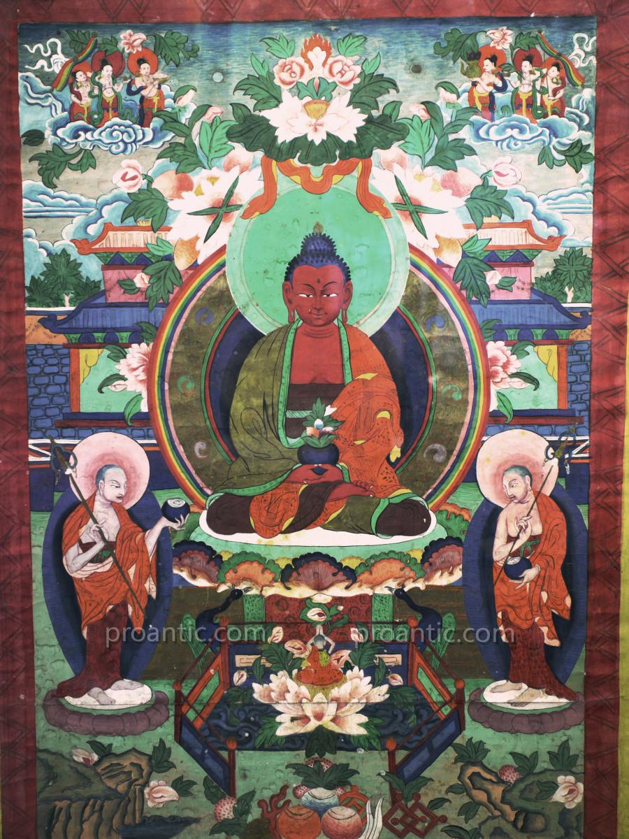 Superb Tibetan Thangka Painted On Canvas
