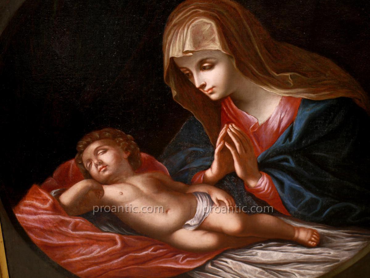 Peinture A l'Huile Sur Toile 'vierge Avec l'Enfant' (Guido Reni)