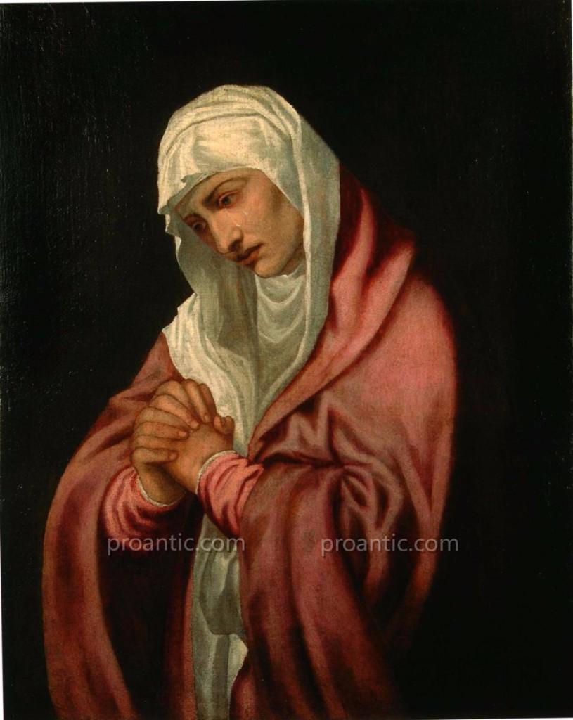 Peinture A l'Huile Sur Toile 'madonna Addolorata' Attribuèe A Lambert Sustris