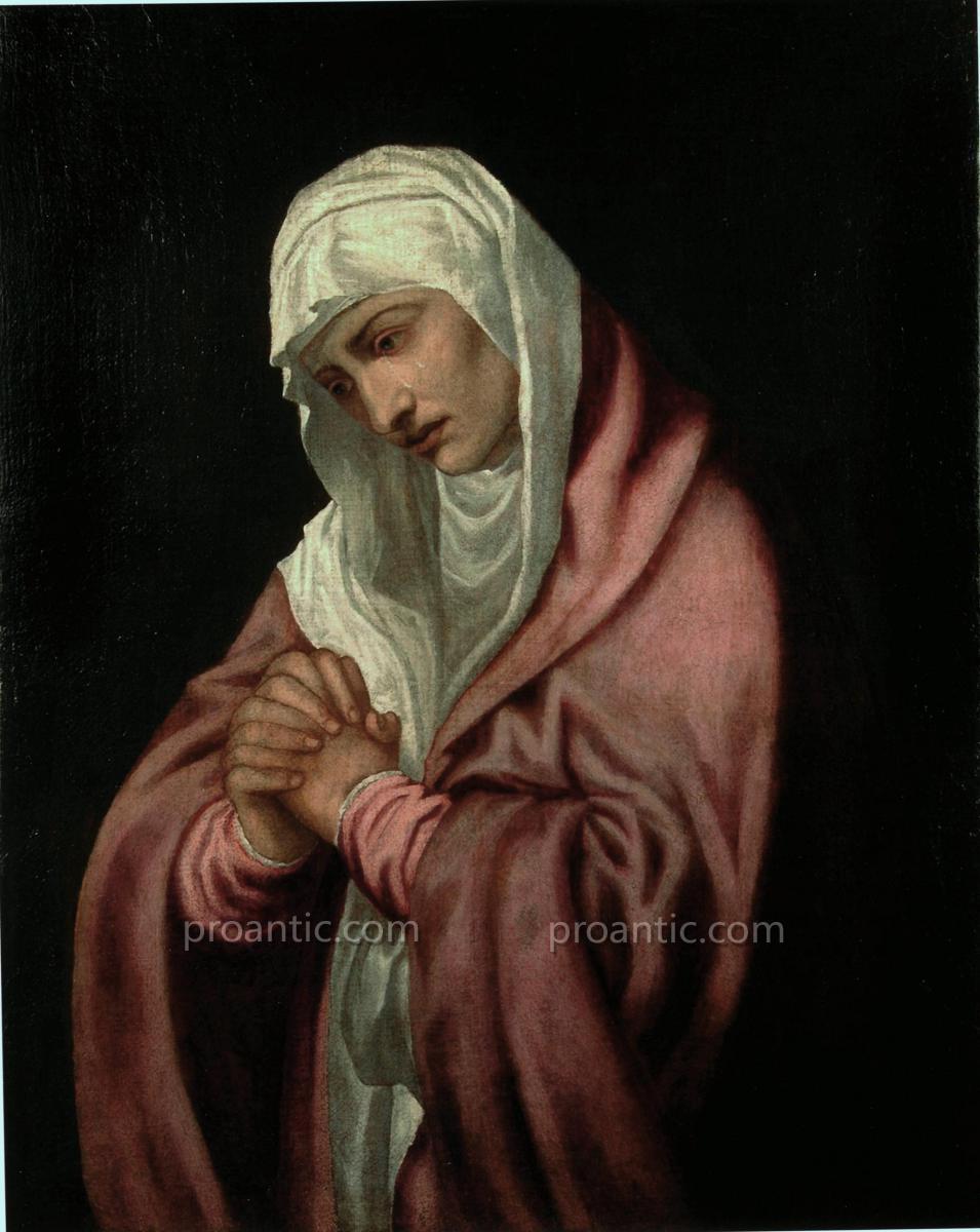 Technique Painting Oil On Canvas 'madonna Addolorata' Attributed To Lambert Sustris-photo-3