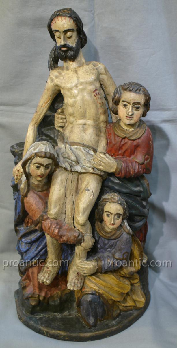 Groupe En Bois Sculpte' Et Policrome' 'la Deposition De La Croix'