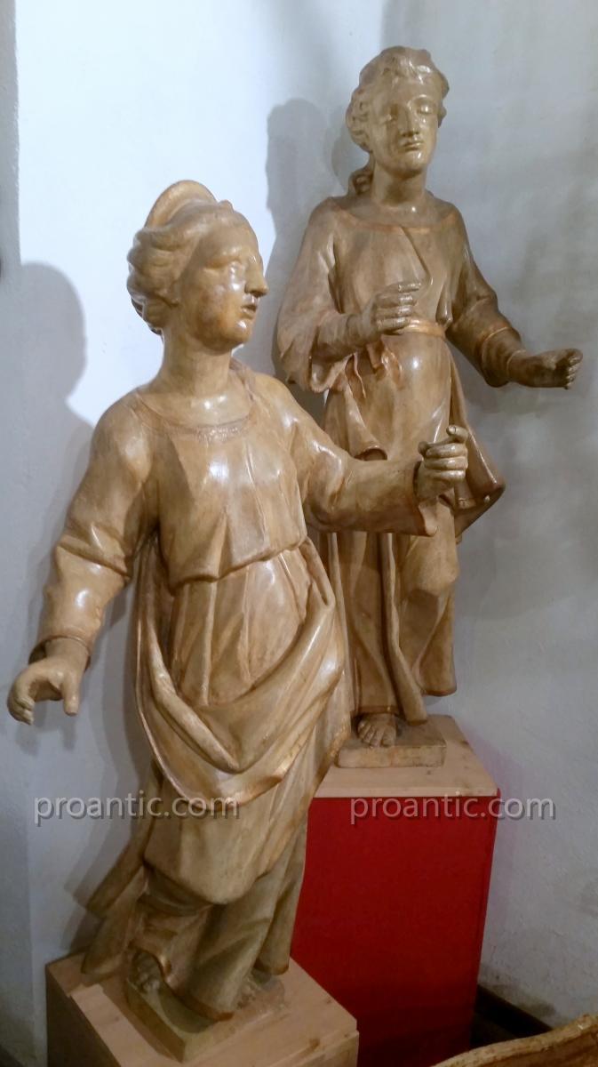 Importante Paire De Sculptures Port Torchere XVI° Siecle