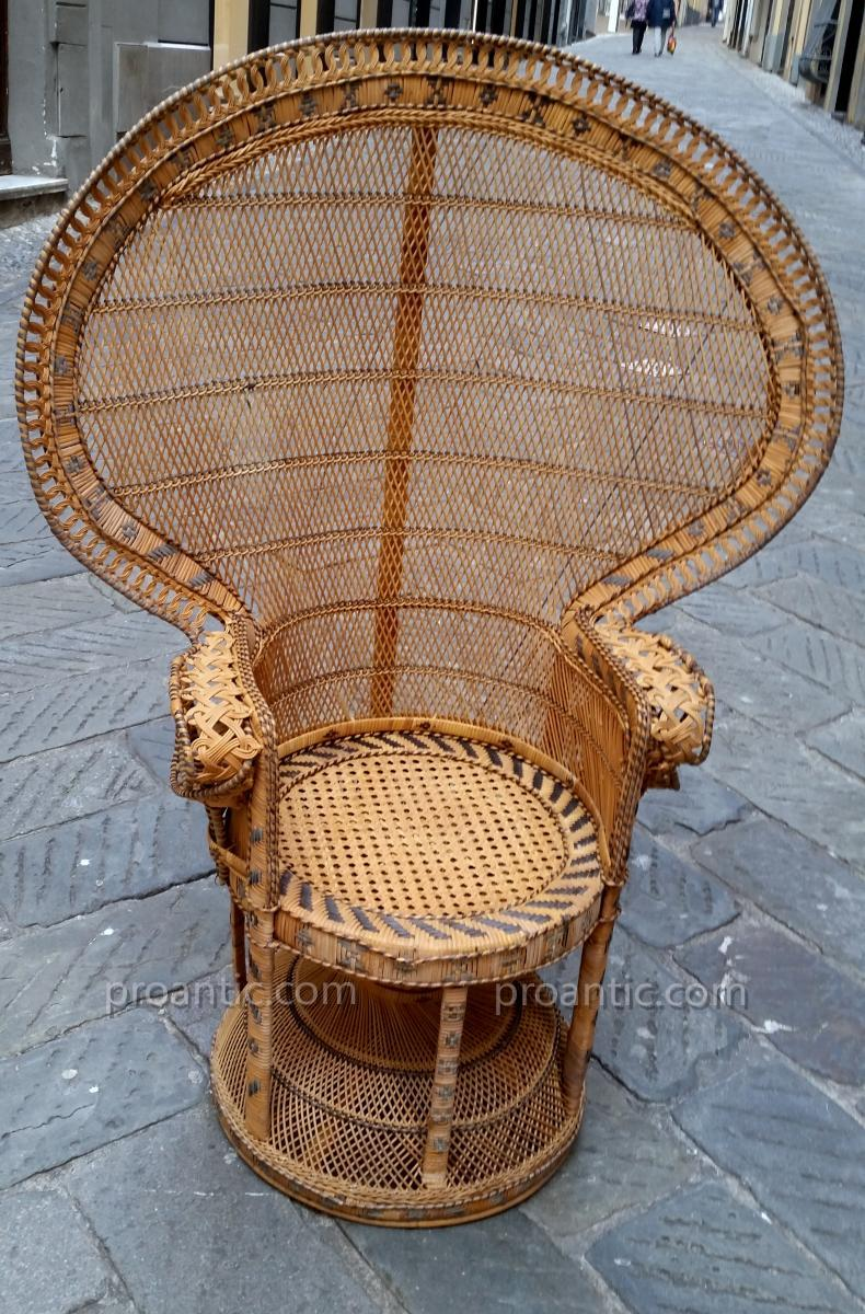 Beautiful Chair In Cane And Wicker XXth Century