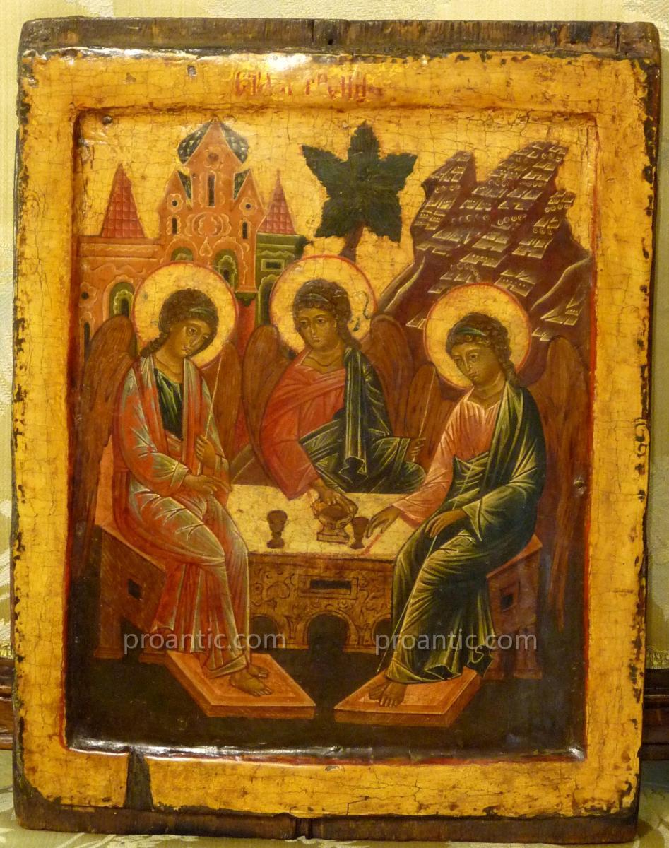 Old Russian Icon 'trinite Angelique'