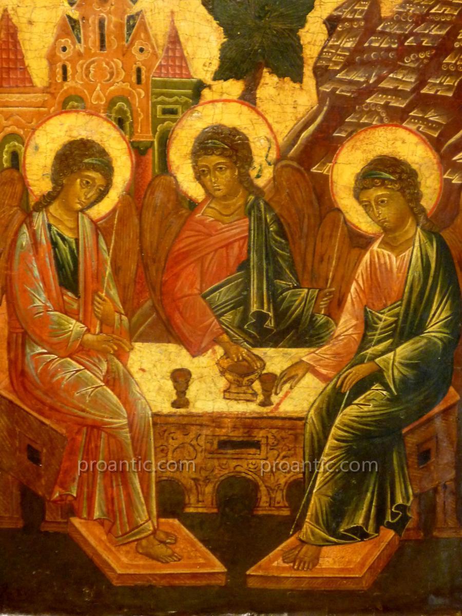 Old Russian Icon 'trinite Angelique'-photo-2