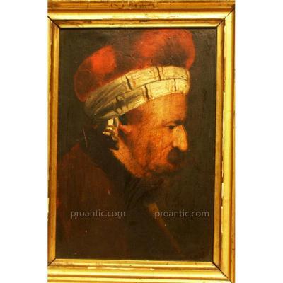 Peinture Sur Bois 'portrait d'Un Homme Oriental Avec Chapeau' W. DIETRICH