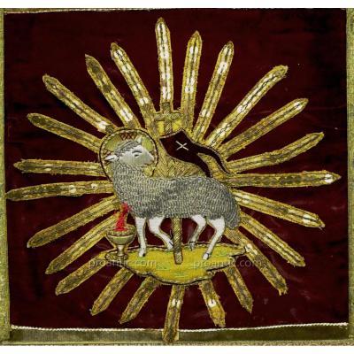 Embroidery 'agnus Dei' In Silver Wire And Metal Dore '